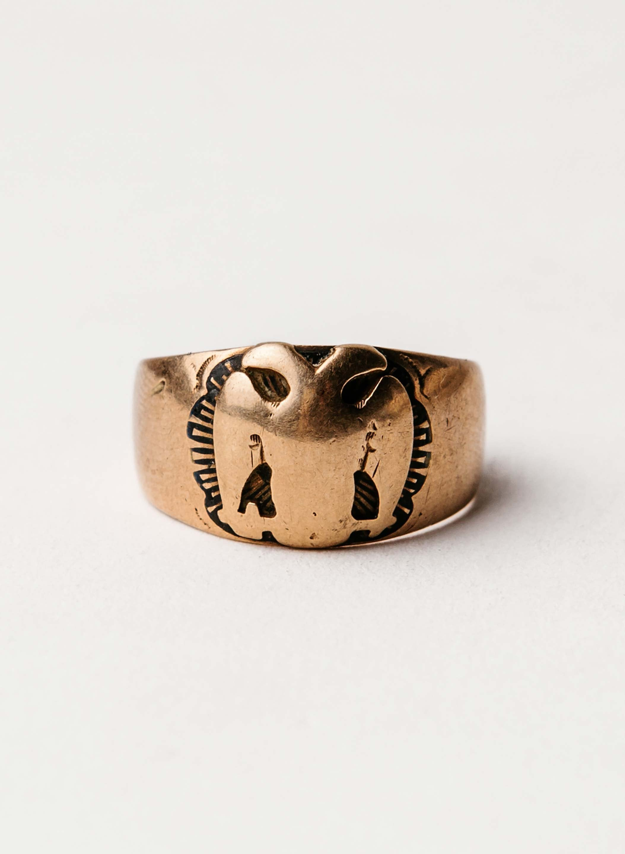 imogene + willie - vintage 10k gold  freemason ring