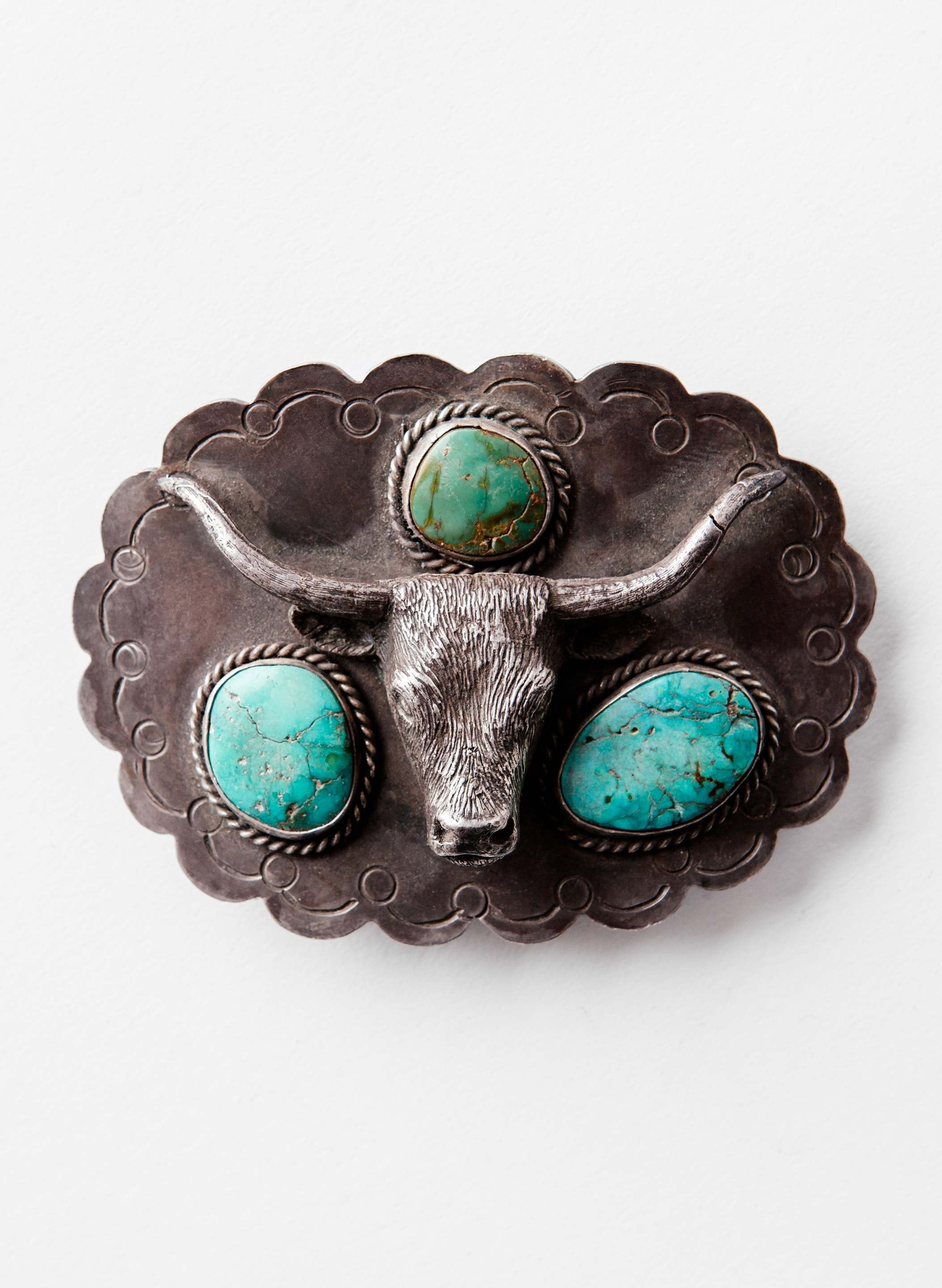"imogene + willie - vintage ""laredo steer"" silver buckle"