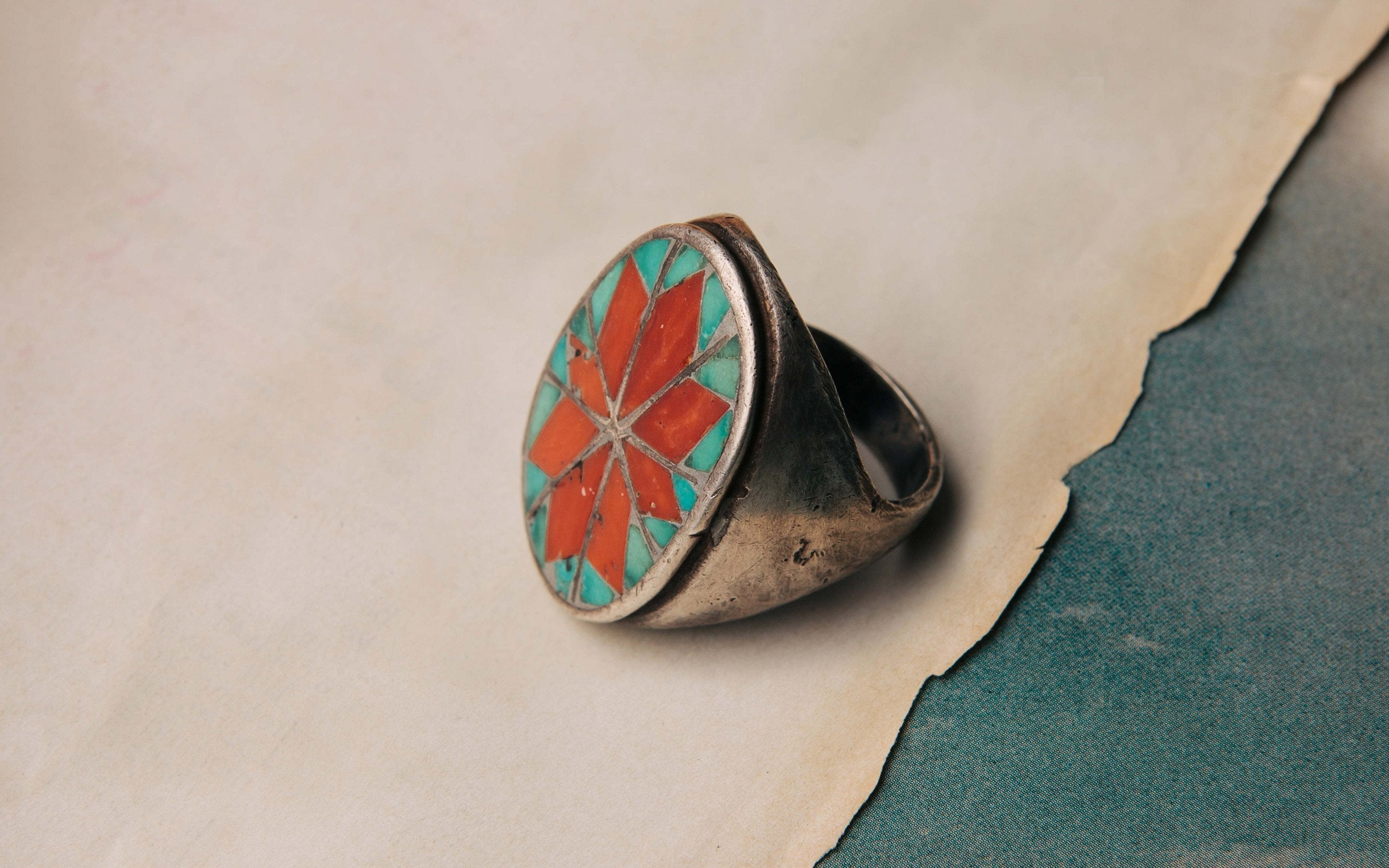 "imogene + willie - vintage ""desert flower"" mosaic ring"