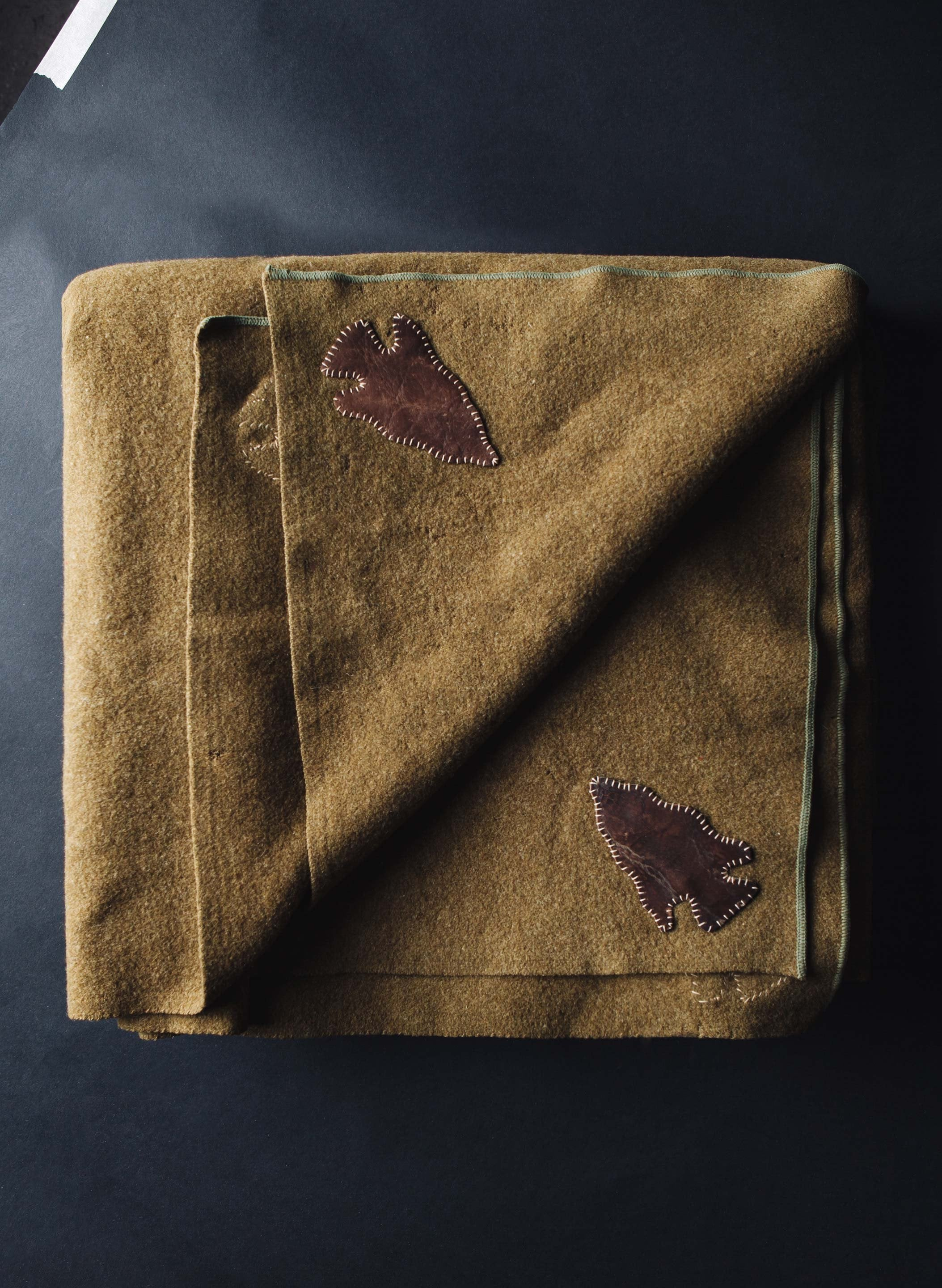 imogene + willie - vintage thunderbird army green blanket