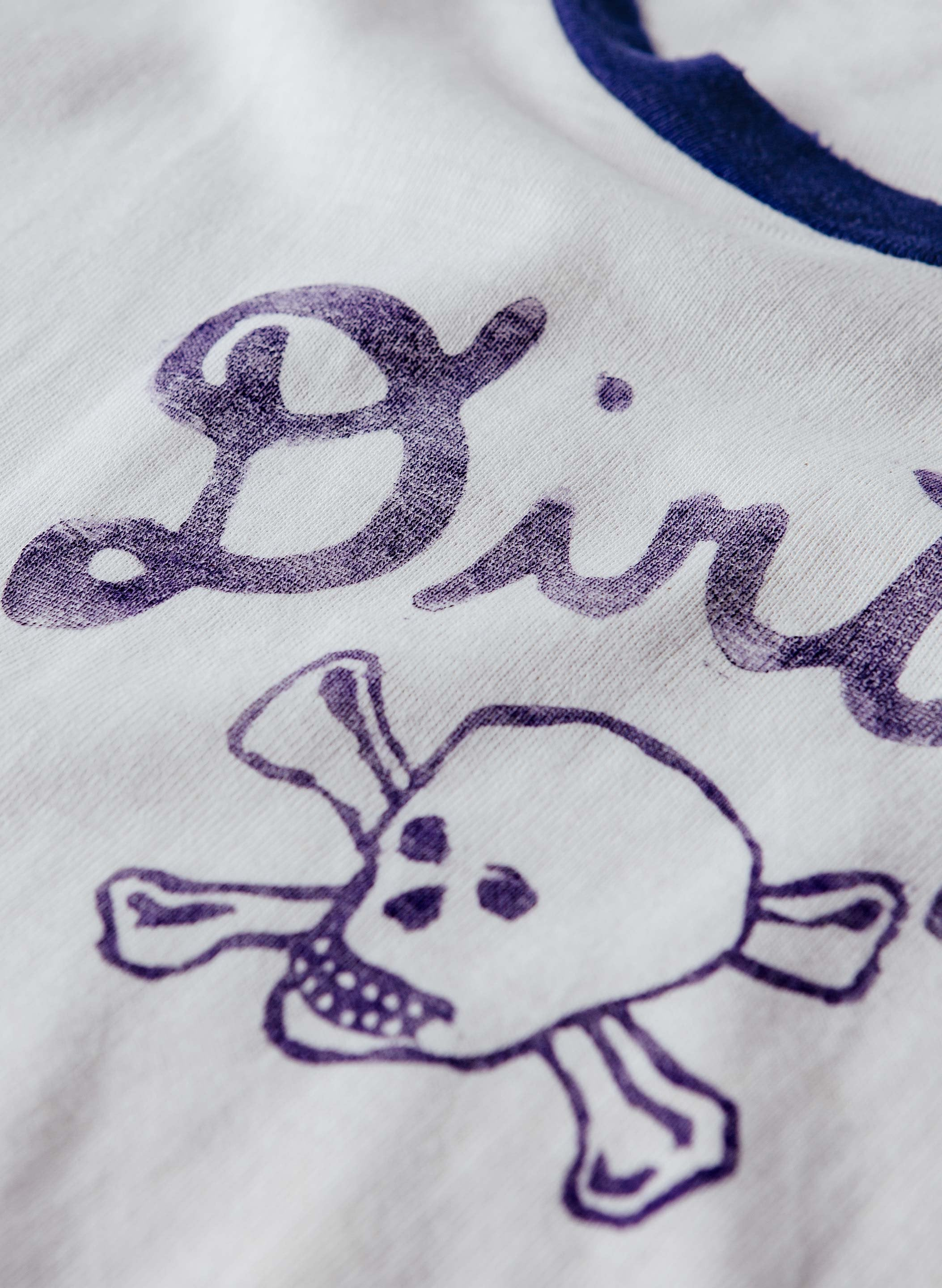 "imogene + willie - hand printed ""dirty deeds"" ringer tee"