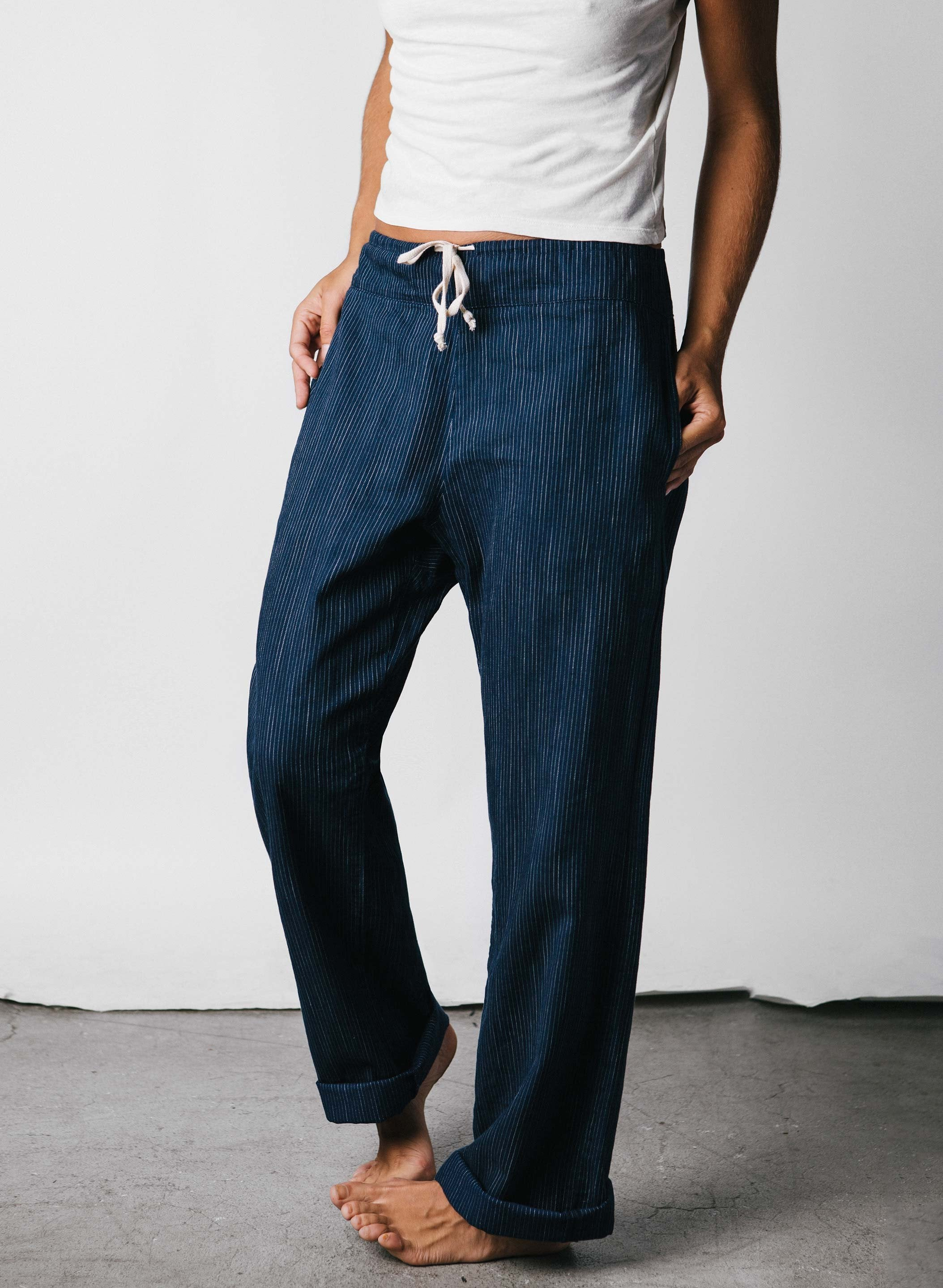 imogene + willie - fethiye washed indigo stripe
