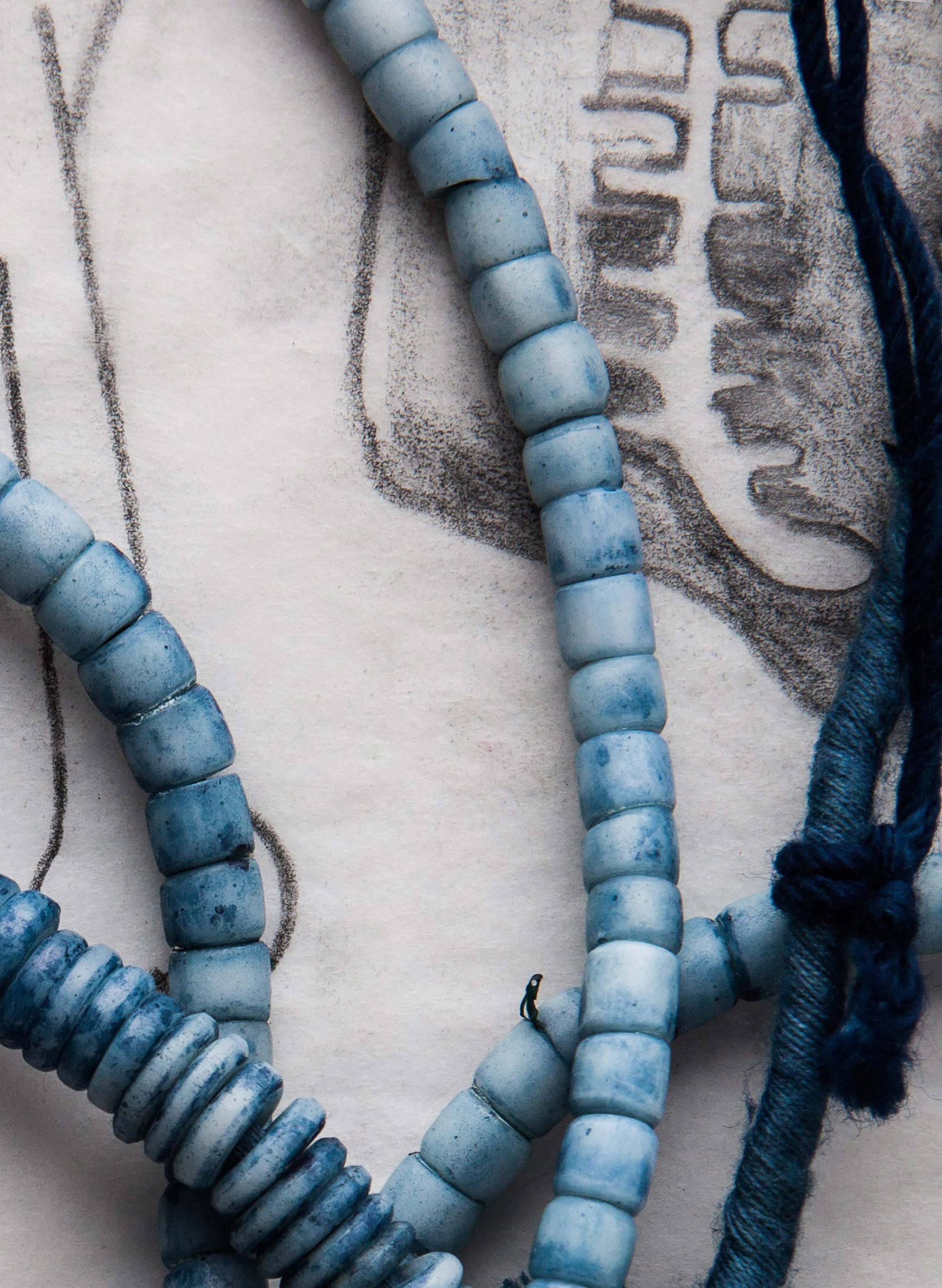 imogene + willie - indigo dyed trade bead necklace