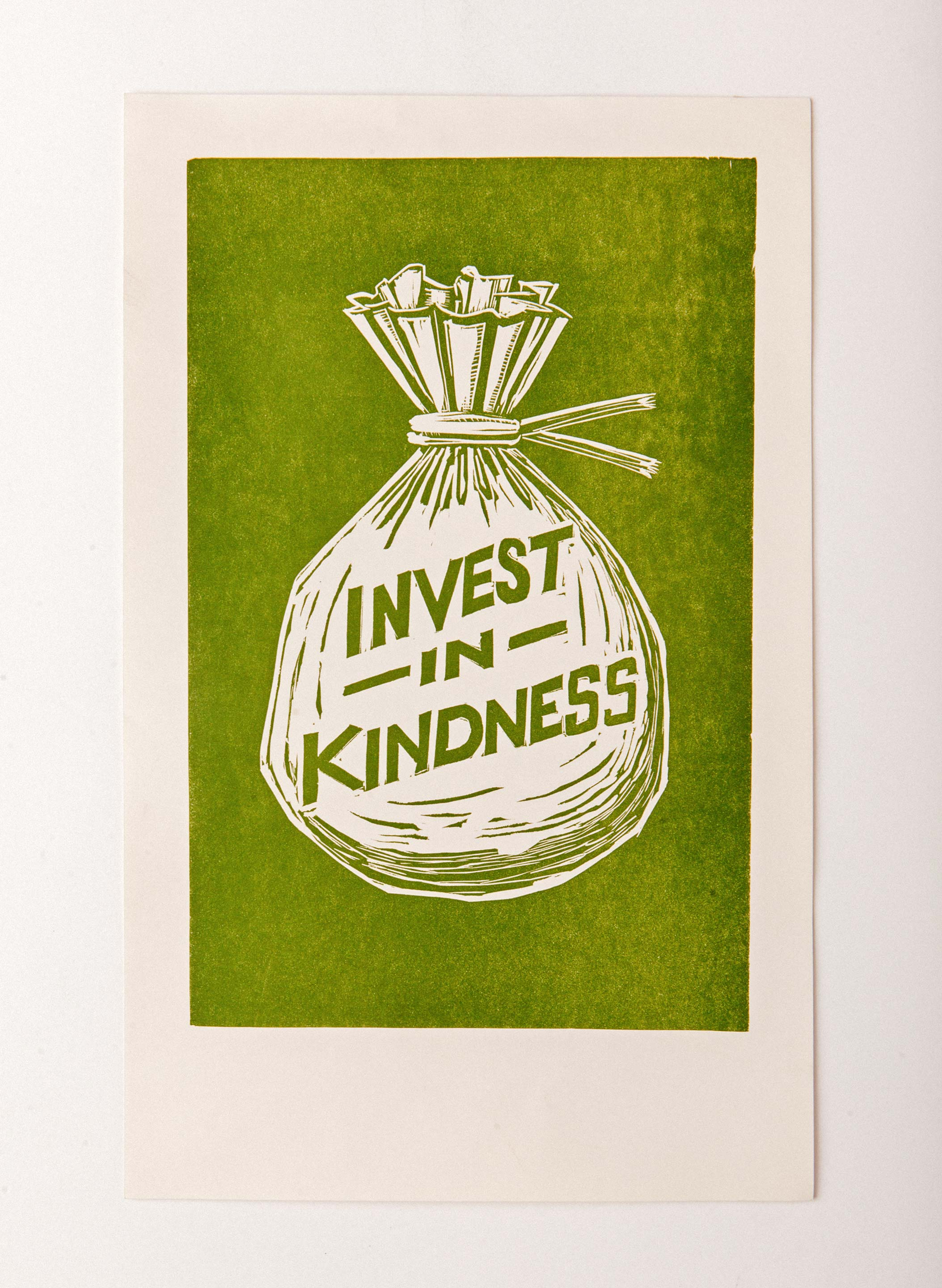 "imogene + willie - ""invest in kindness"" letterpress print"