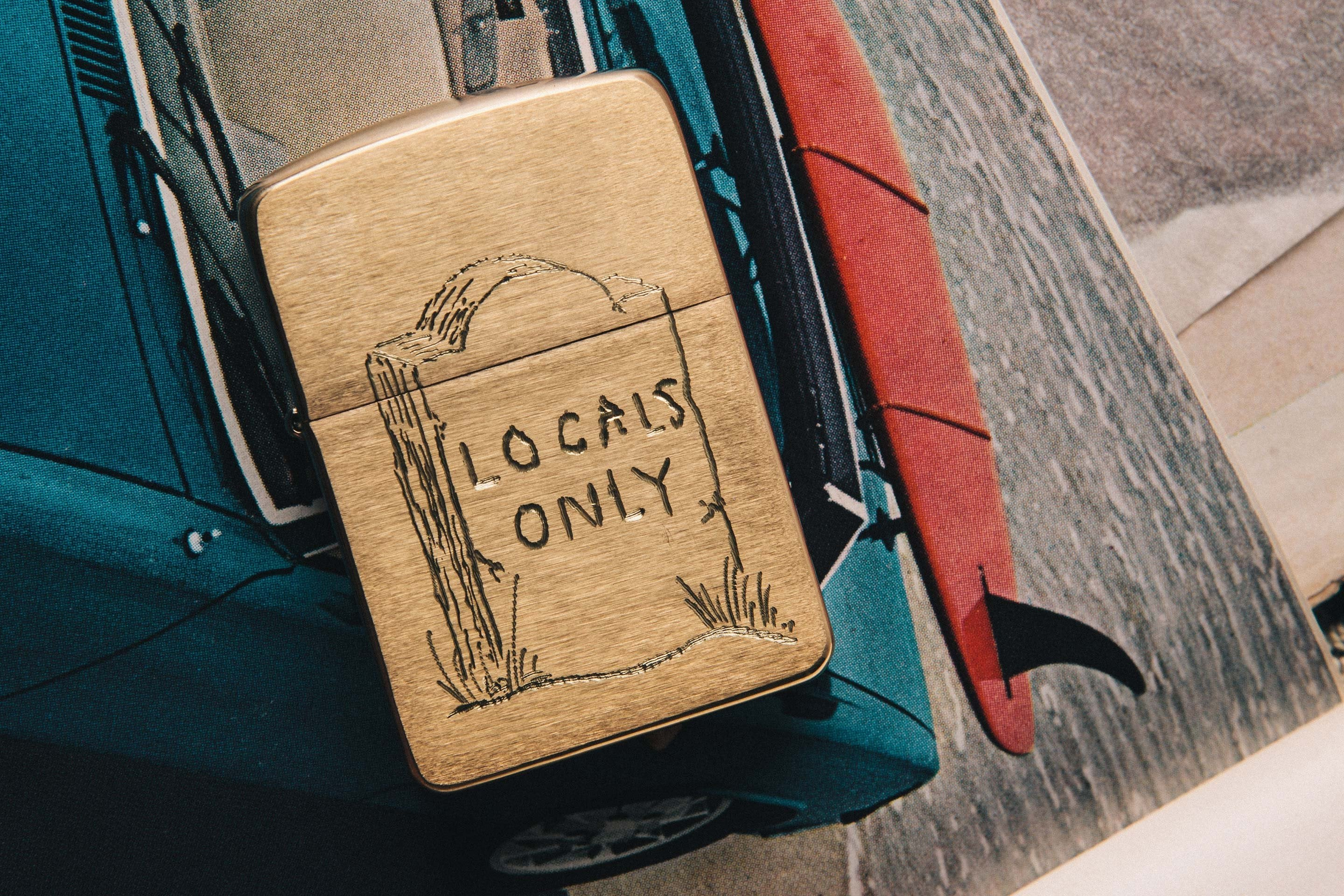 "imogene + willie - engraved ""locals only"" brass zippo"