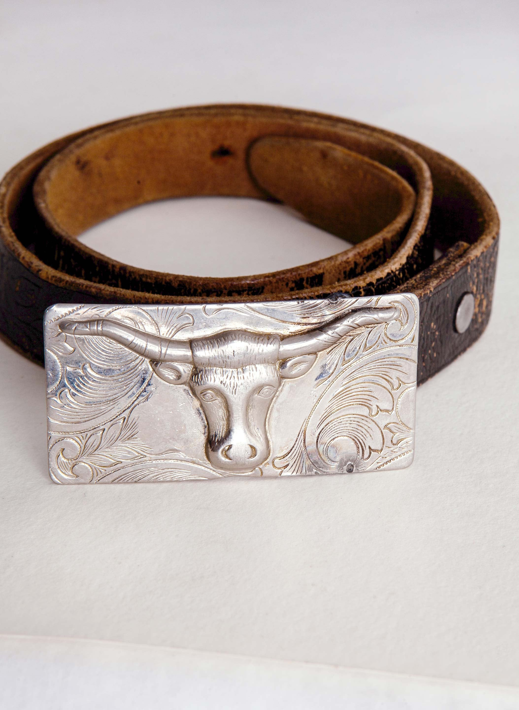 "imogene + willie - vintage ""longhorn"" leather belt"