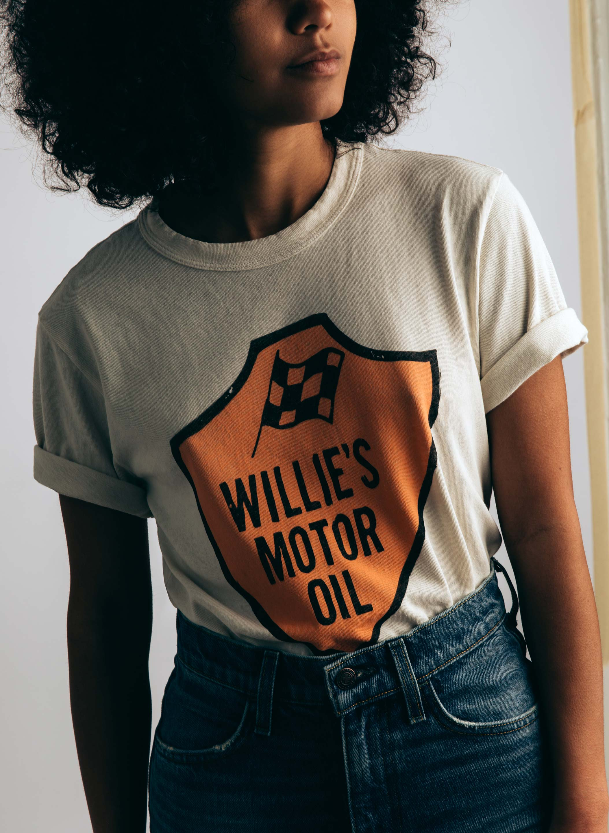"imogene + willie - the ""willie's motor oil"" tee (vintage white)"
