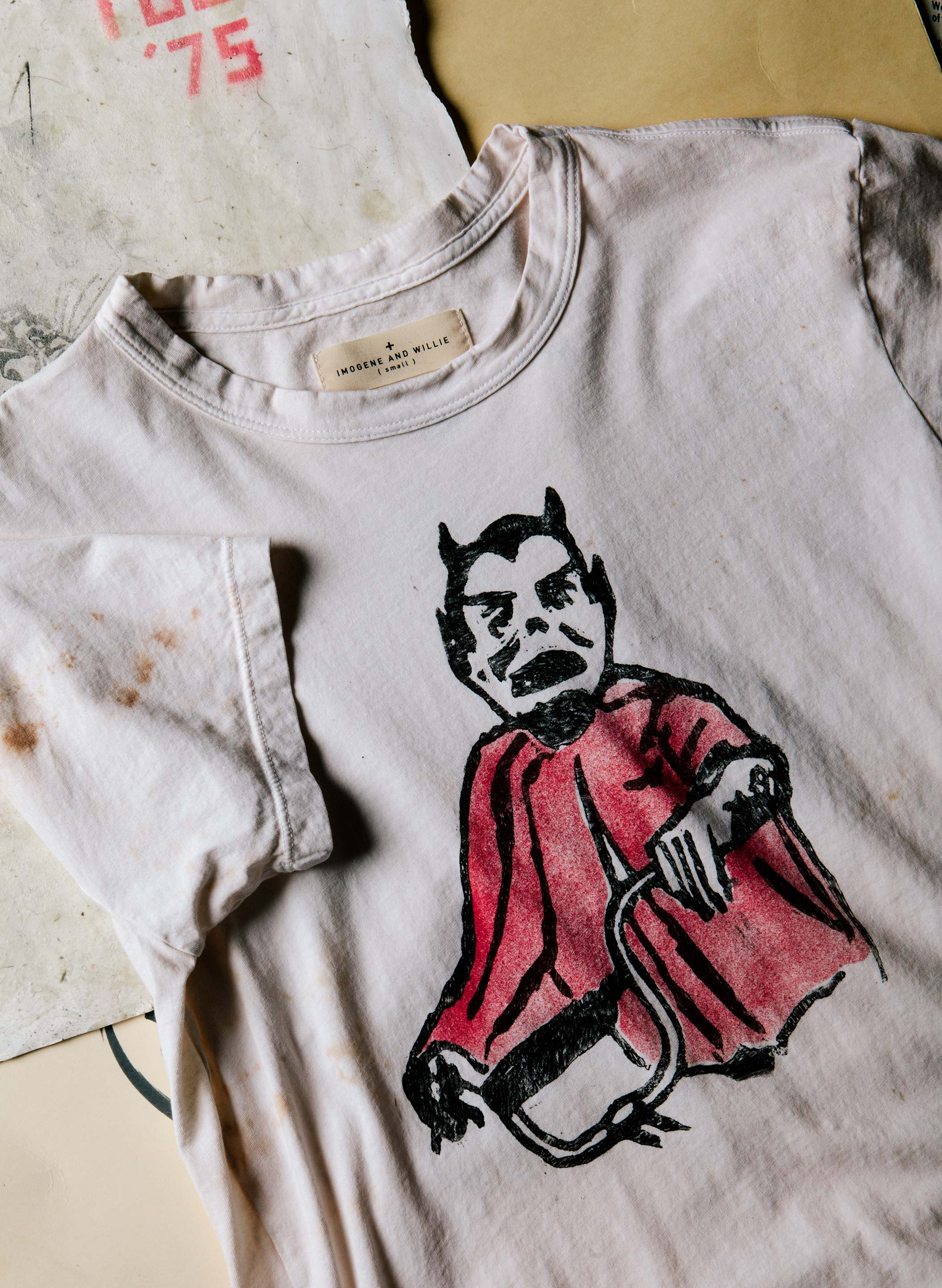 "imogene + willie - handpainted ""neighborhood"" tee"