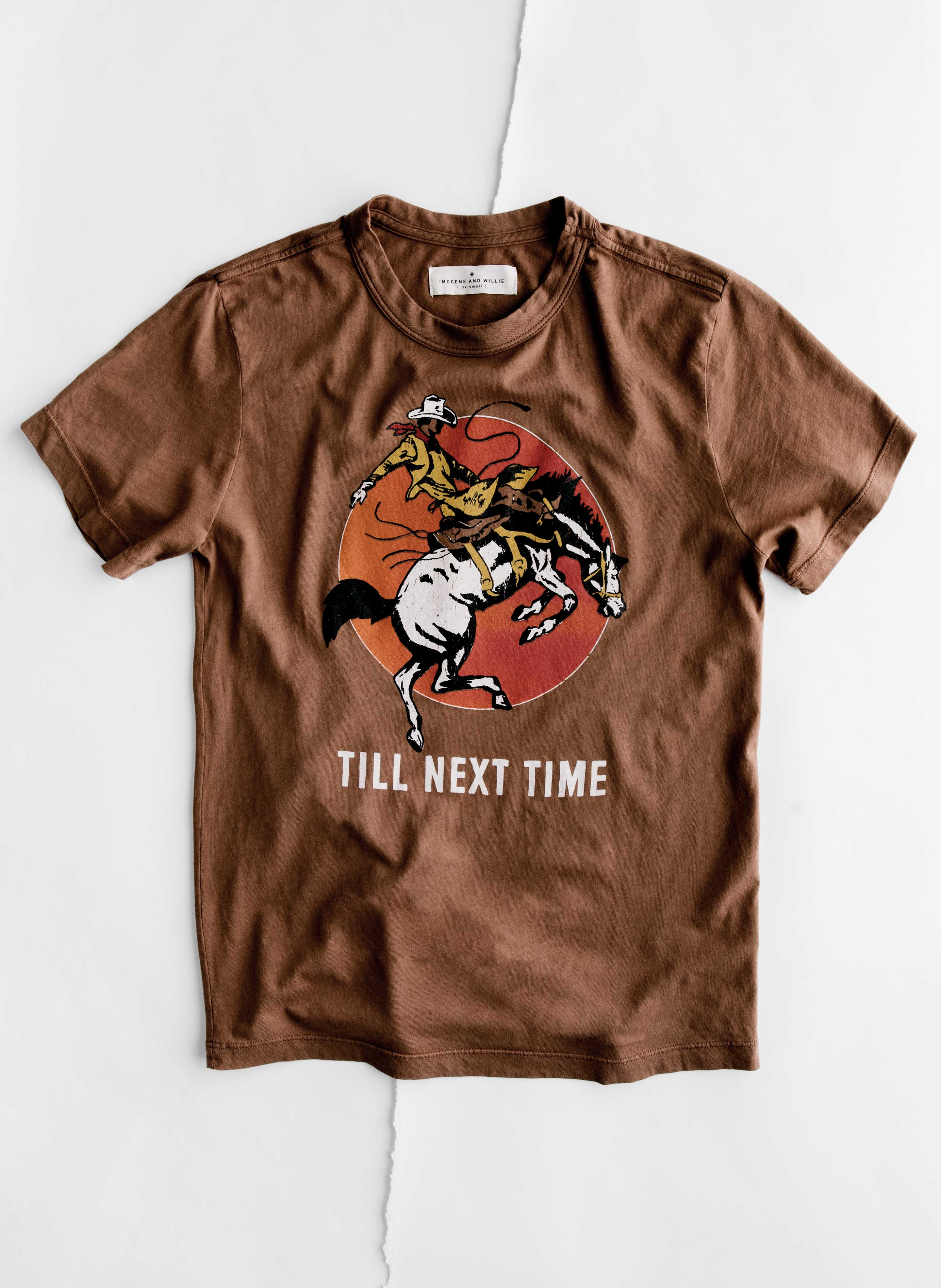 "imogene + willie - the ""next time"" tee in brown"