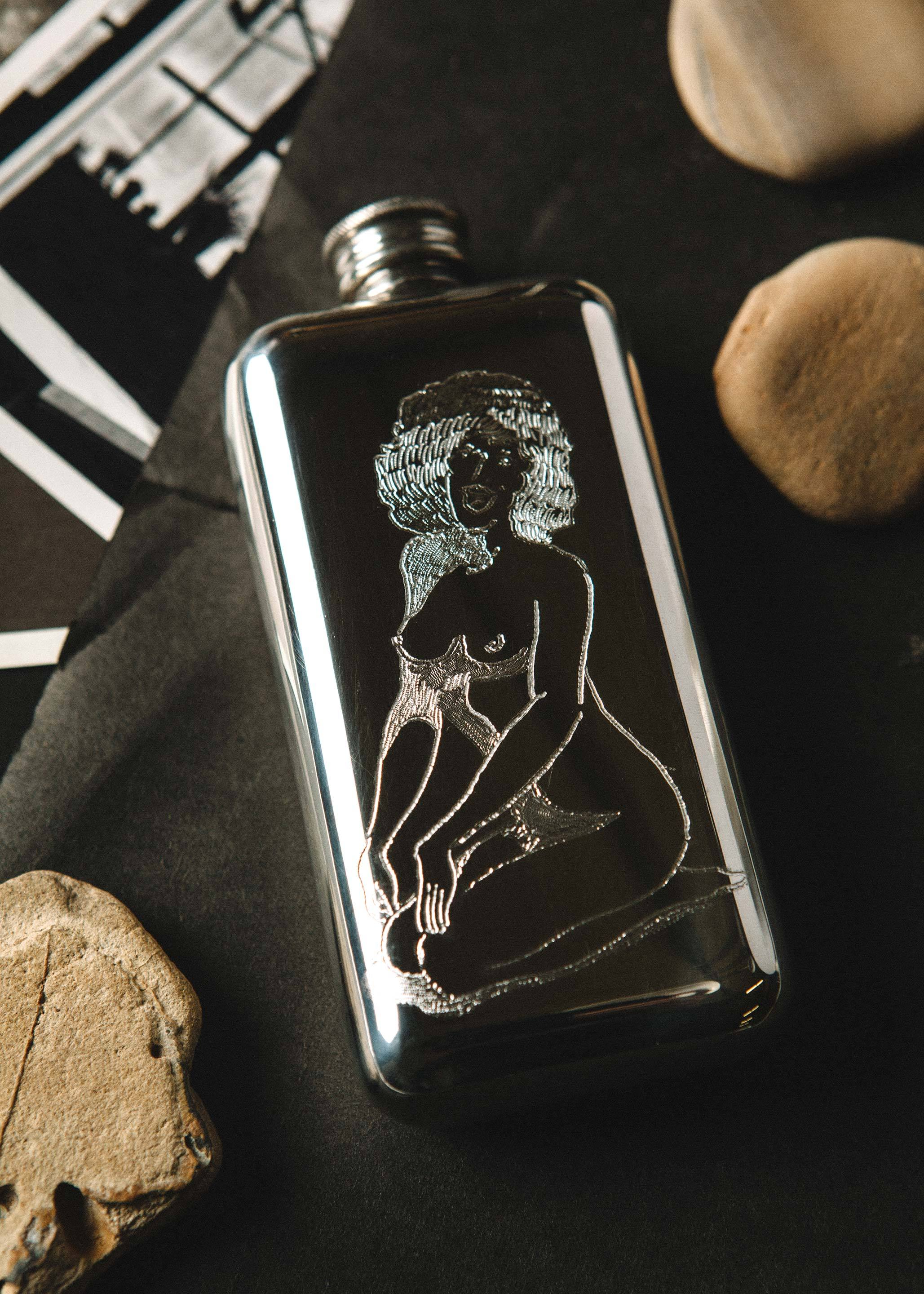 "imogene + willie - engraved ""show me yours"" flask"