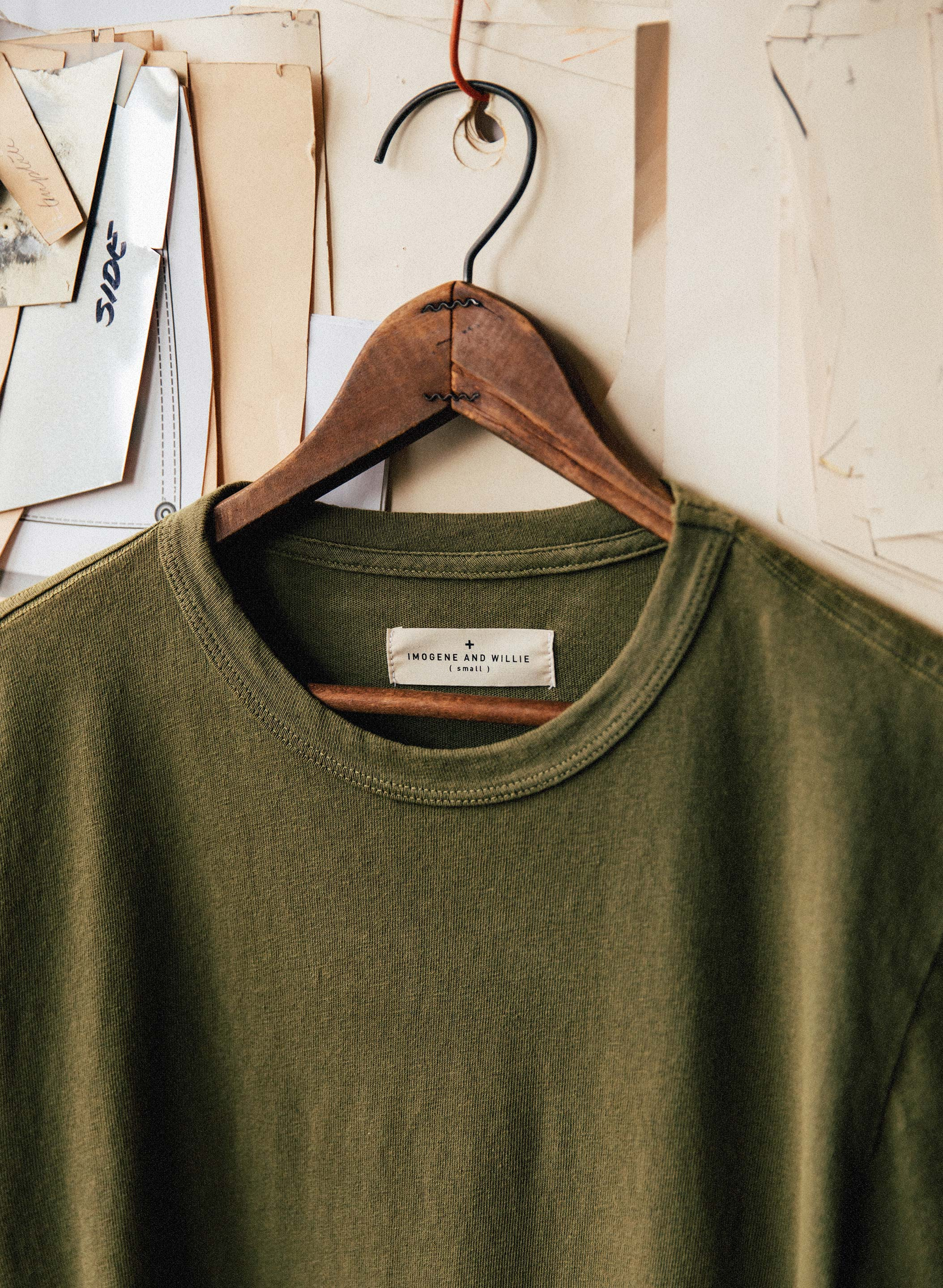 imogene + willie - olive knit mid weight crew