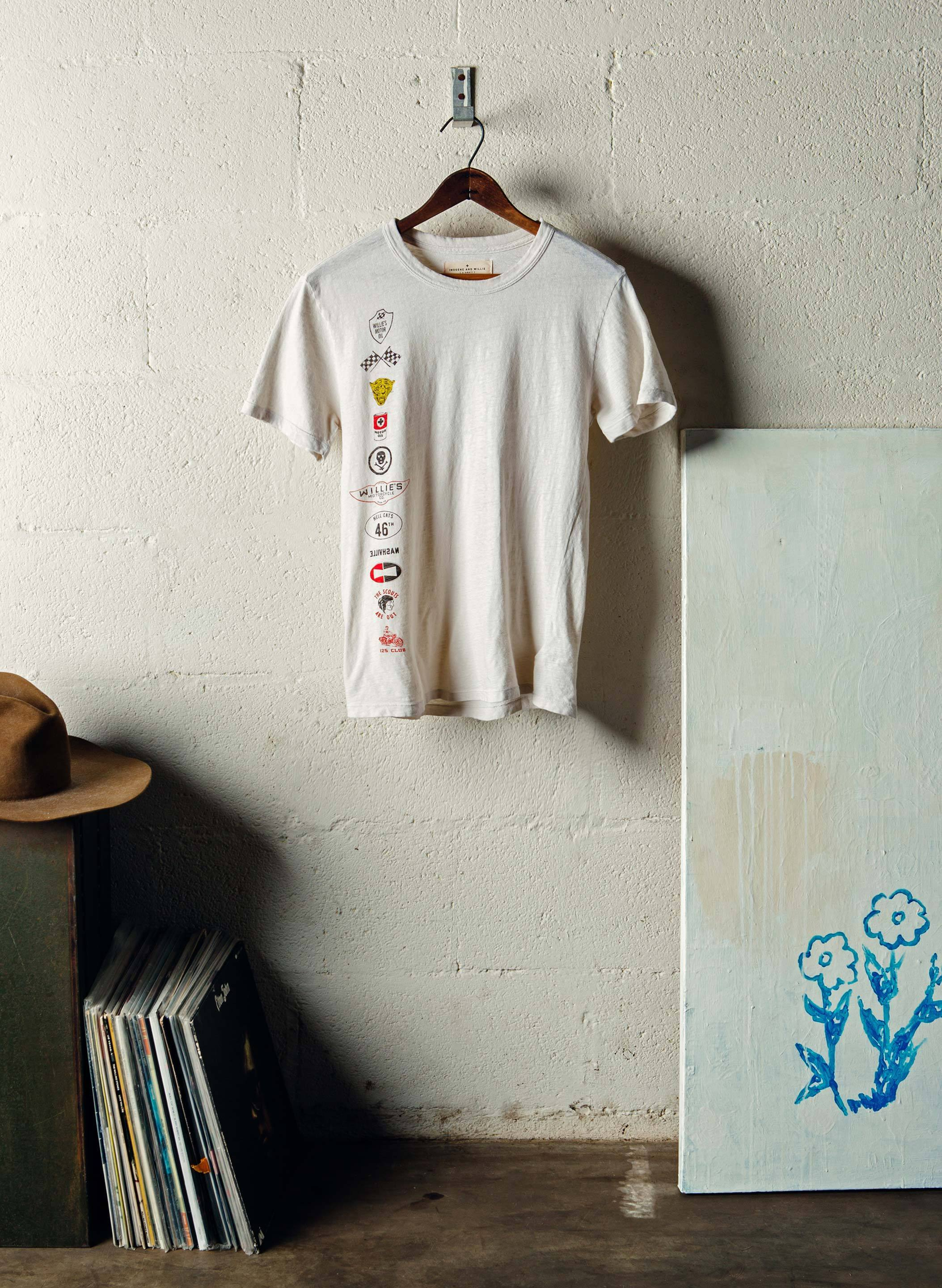 "imogene + willie - the ""desert sled"" racer tee (vintage white)"