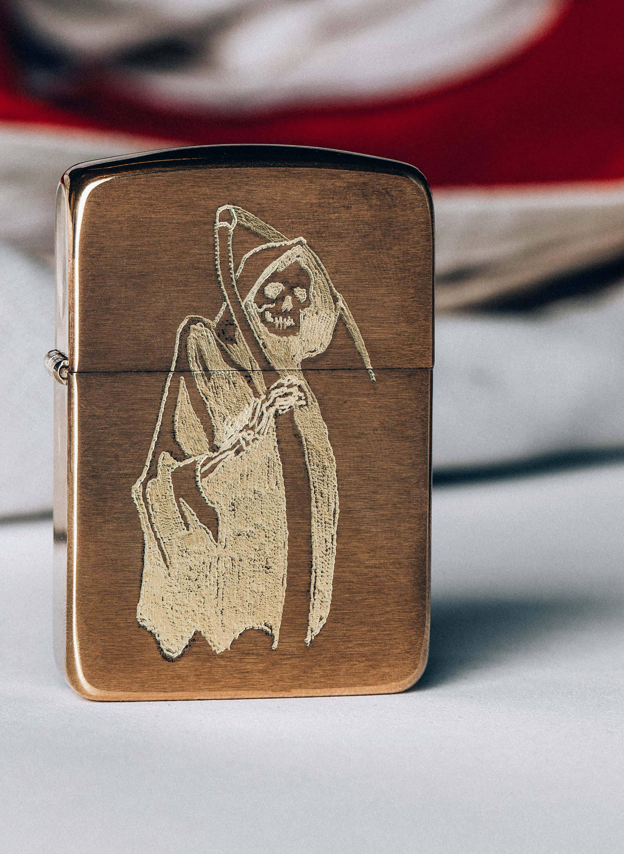 "imogene + willie - engraved ""last words"" zippo"