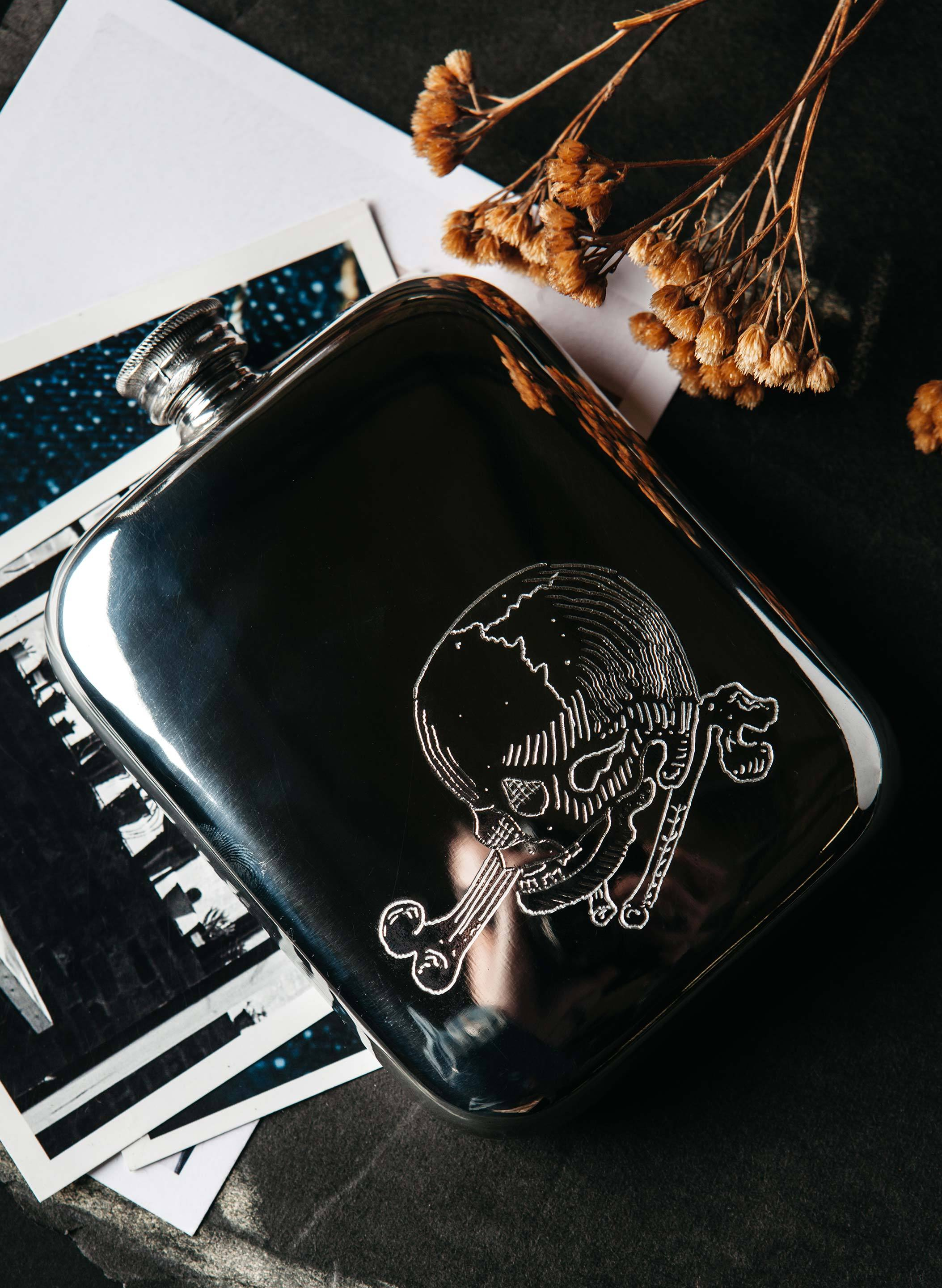 "imogene + willie - engraved ""last chance"" flask"