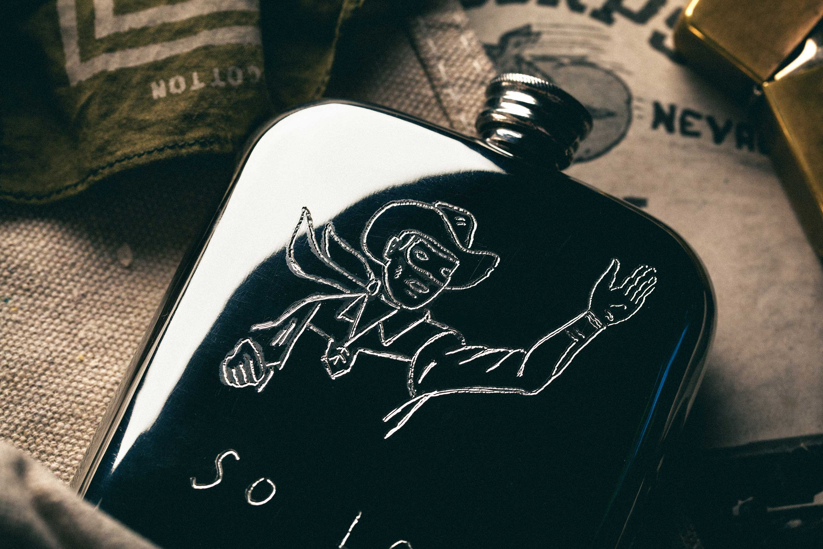 "imogene + willie - engraved ""so long"" flask"