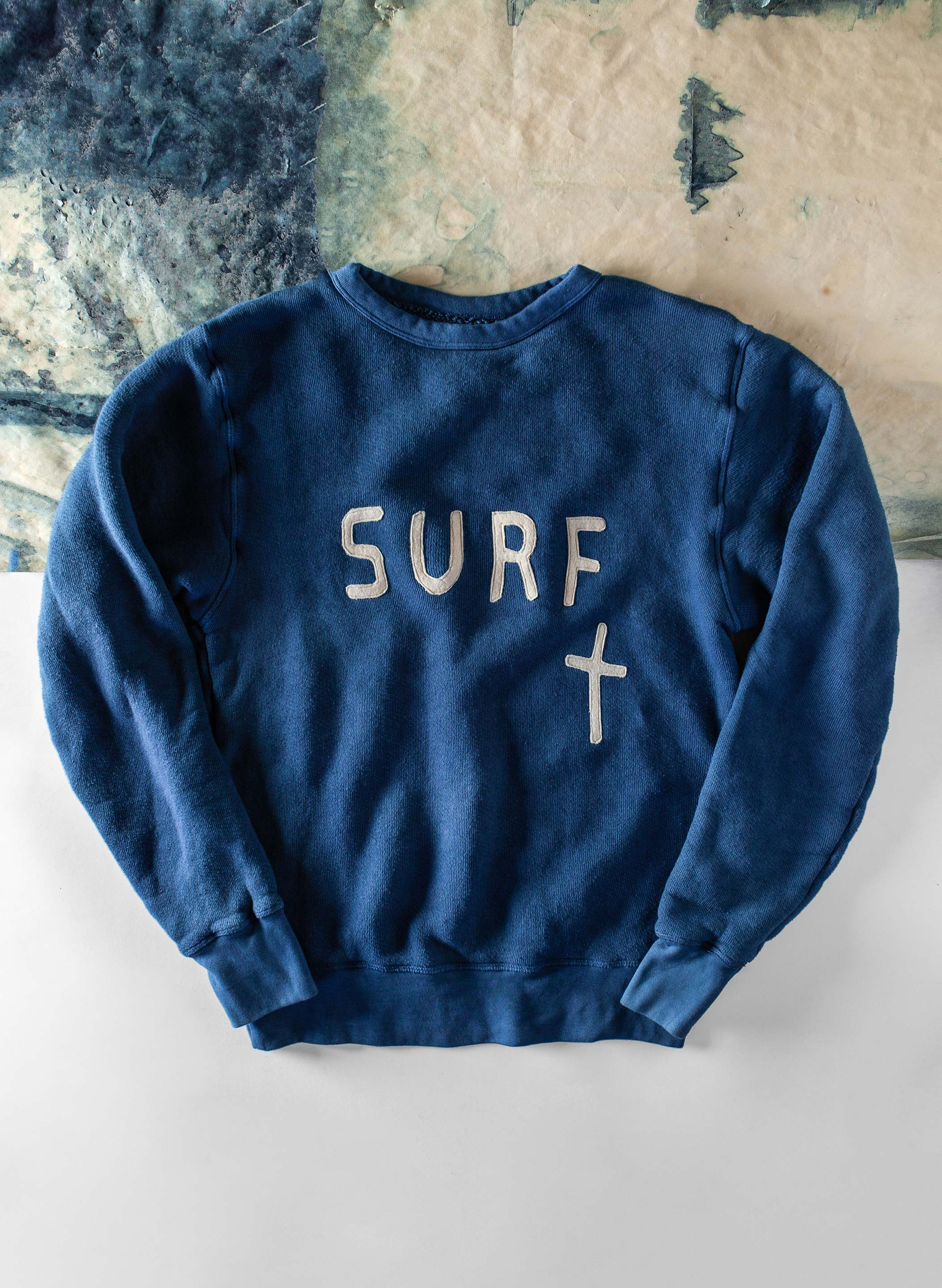 "imogene + willie - indigo ""pray for surf"" sweatshirt"