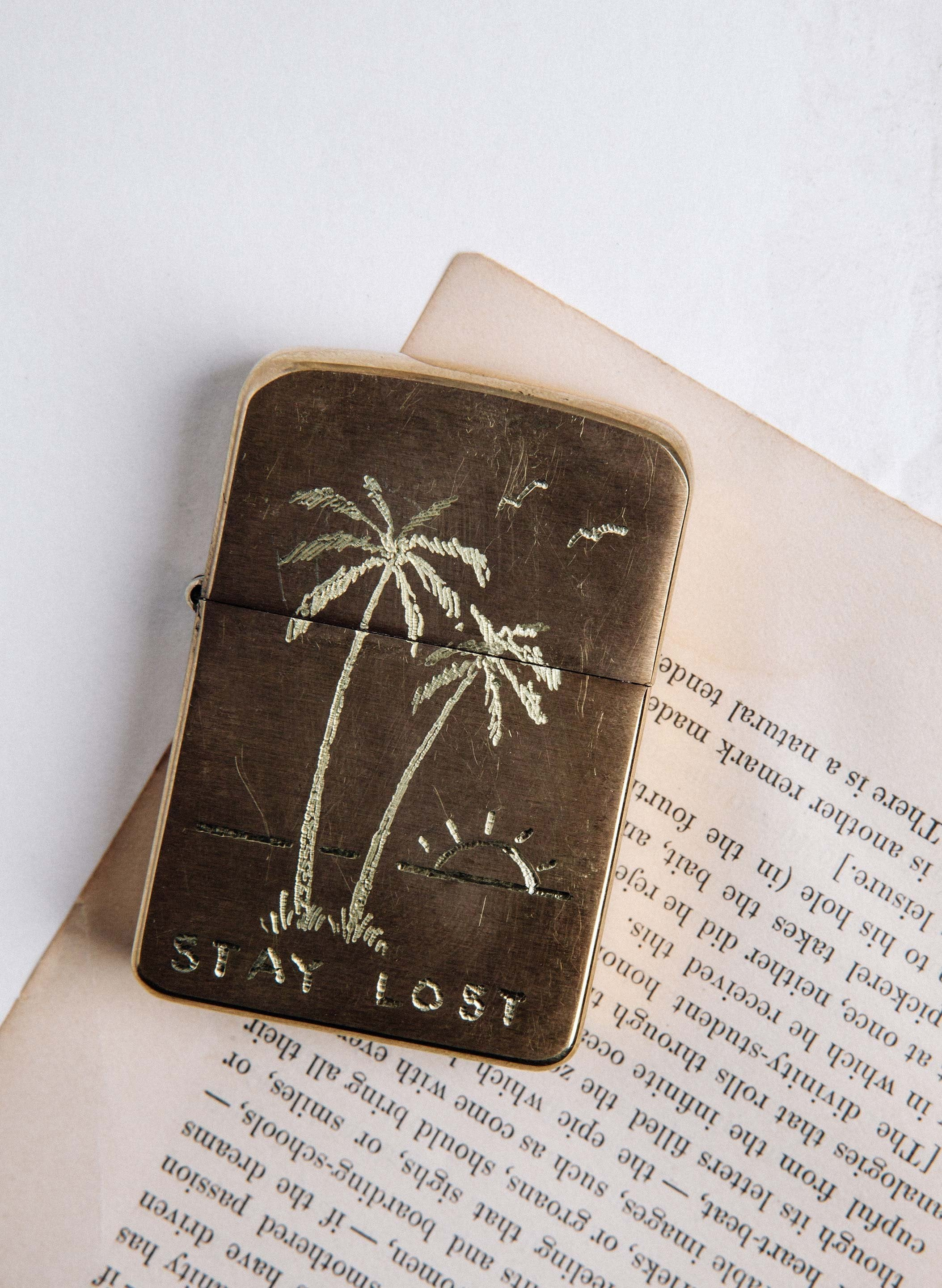 "imogene + willie - hand engraved ""stay lost"" zippo"