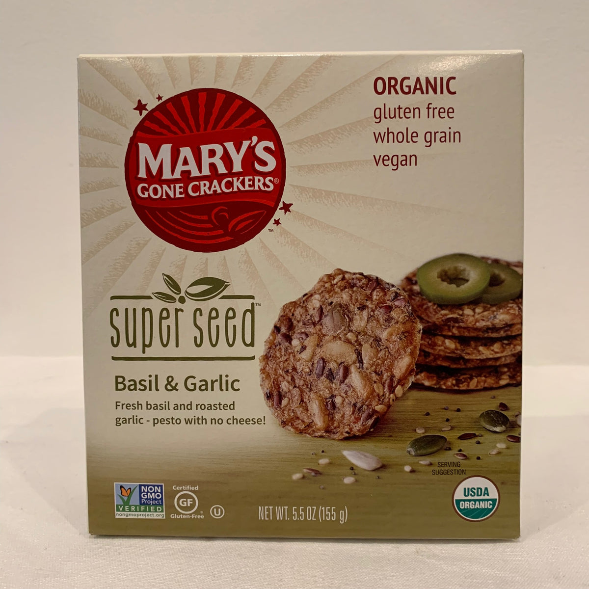 Marys Gone Crackers Super Seed Basil Garlic