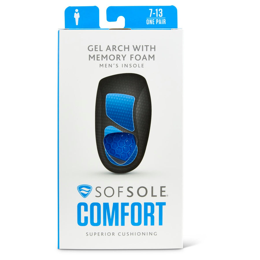 SOF SOLE GEL ARCH WITH MEMORY FOAM INSOLE (MENS) SIZE US 7-12