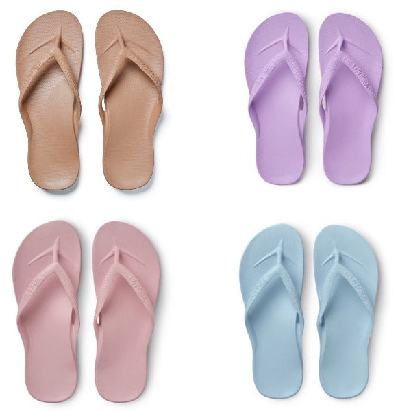 ARCHIES THONGS - TAN/LILAC/PINK/SKY BLUE