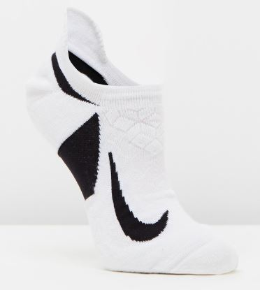 NIKE ELITE CUSHIONED NO SHOW SOCKS (ADULTS)- White/ Black Middle