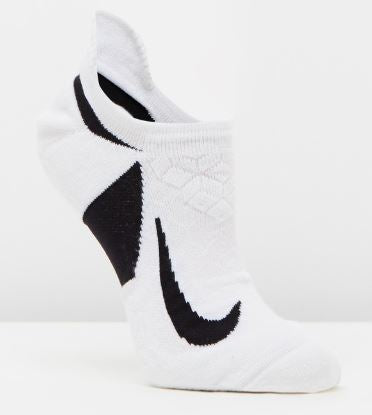 NIKE ELITE CUSHIONED NO SHOW SOCKS (ADULTS)- White/ Black