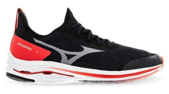 MIZUNO WAVE RIDER NEO (D WIDTH) - BLACK/ WHITE/ IGNITION RED (MENS)