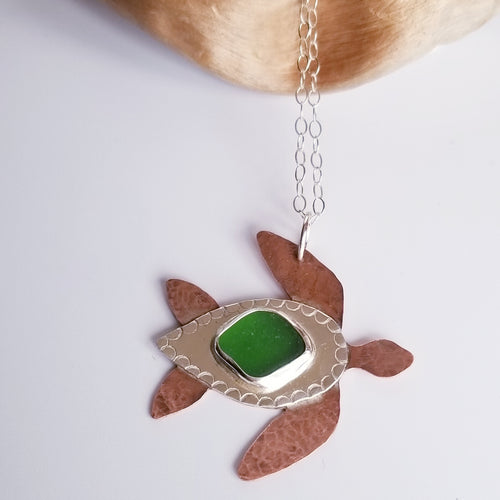 Hammered Mixed Metal & Sea Glass Turtle - Changing Tides Jewelry