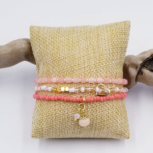 Set of 3 -Harmony Stretch Bracelets, pink with gold accent - Changing Tides Jewelry
