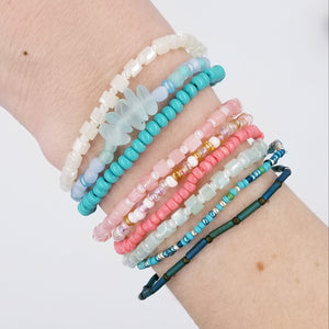 Choose a Set of 3 -Harmony Stretch Bracelets, turquoise & sea glass, Green with turtle charm, pink with gold accent - Changing Tides Jewelry