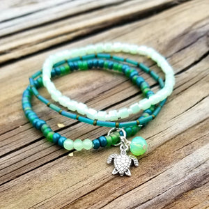 Set of 3 -Harmony Stretch Bracelets, Green with turtle charm - Changing Tides Jewelry