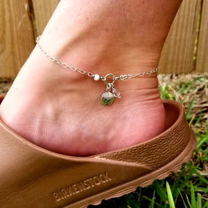 Sand dollar, crystal, mother of pearl anklet - Changing Tides Jewelry