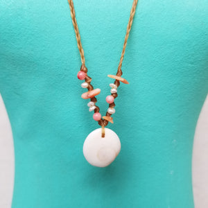 Sandkissed Surfer Necklace - Shiva Shell & Coral