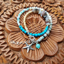 Load image into Gallery viewer, Beachy Surfer Starfish Beaded Wrap Bracelet - Changing Tides Jewelry