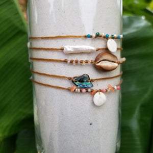 Sandkissed Surfer Anklet - Shiva Shell & Crystals