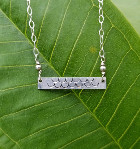 Mermaid Scales - Silver Bar Necklace