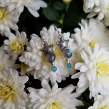 Load image into Gallery viewer, Labradorite & Amazonite Starfish Earrings