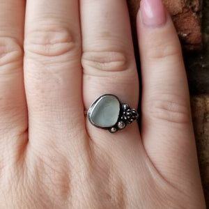 Sea Glass and Succulent Ring No.3 Size 9