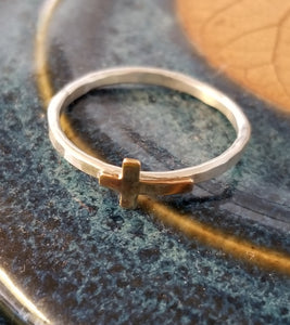 Stacker Ring - Brass Cross