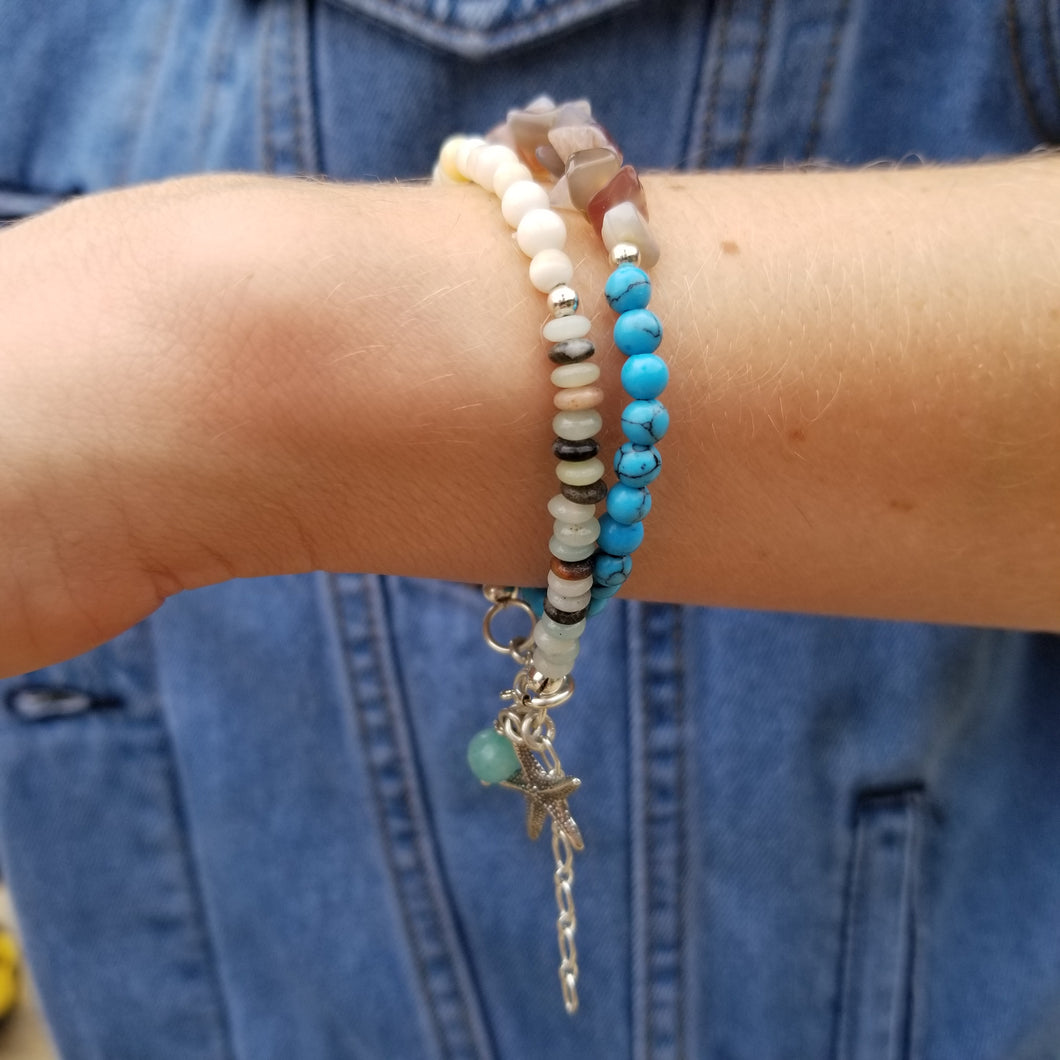 Beachy Surfer Starfish Beaded Wrap Bracelet - Changing Tides Jewelry
