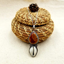 Load image into Gallery viewer, Fossilzed Wood, Cowrie, Sterling Silver Necklace