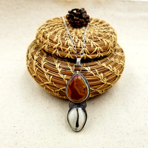 Fossilzed Wood, Cowrie, Sterling Silver Necklace