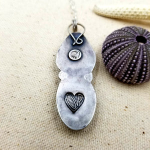 Sea Glass, Cowrie, Sterling Silver Necklace