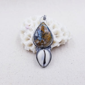 Sea Sediment Jasper, Cowrie Shell, Sterling Silver Necklace