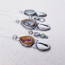 Load image into Gallery viewer, Sea Glass, Cowrie, Sterling Silver Necklace
