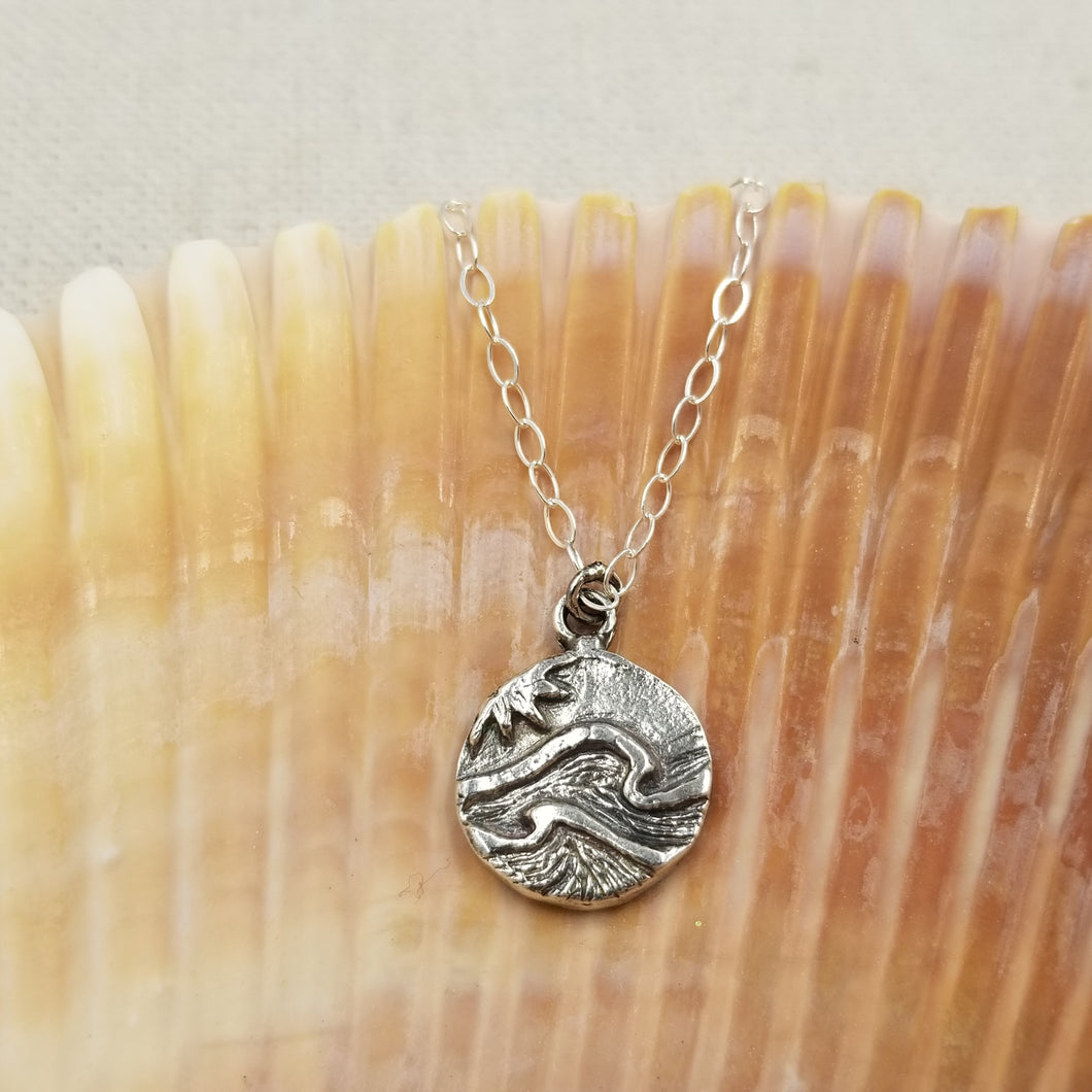 Solid Sterling Ocean Charm Necklace