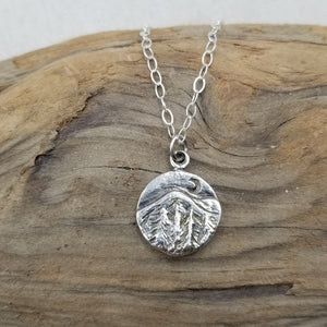 Solid Sterling Mountain Charm Necklace