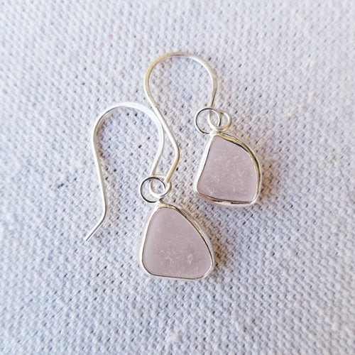 Bezeled Sea Glass Earrings