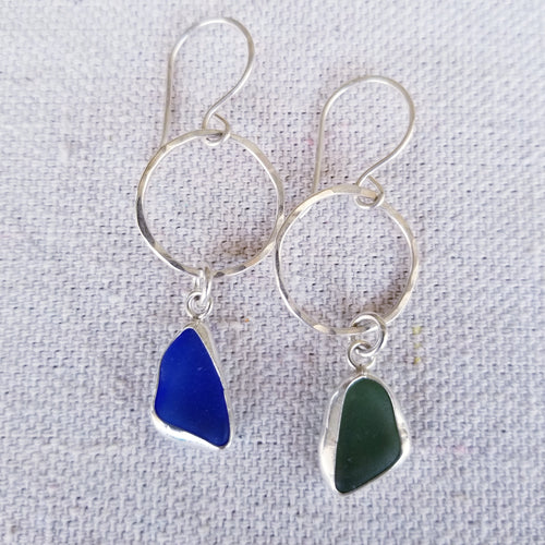 Mismatched Bezeled Sea Glass Earrings