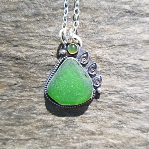 Kelly Green Sea Glass Pendant with Jade